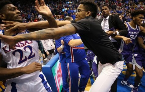 Kansas and Kansas State College Basketball Fight